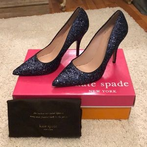NWOT Kate Spade Licorice Too in Navy Glitter